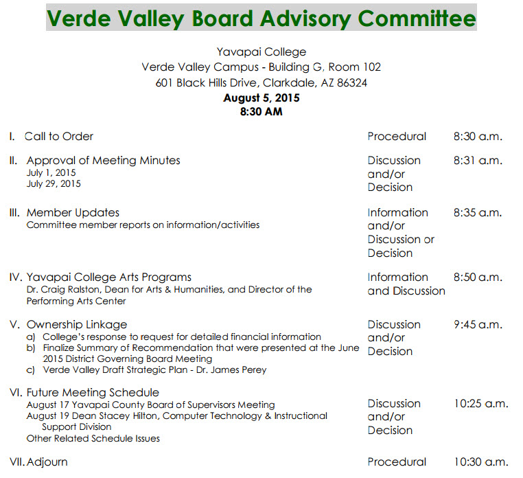 Meeting Notice  Eye On Yavapai College