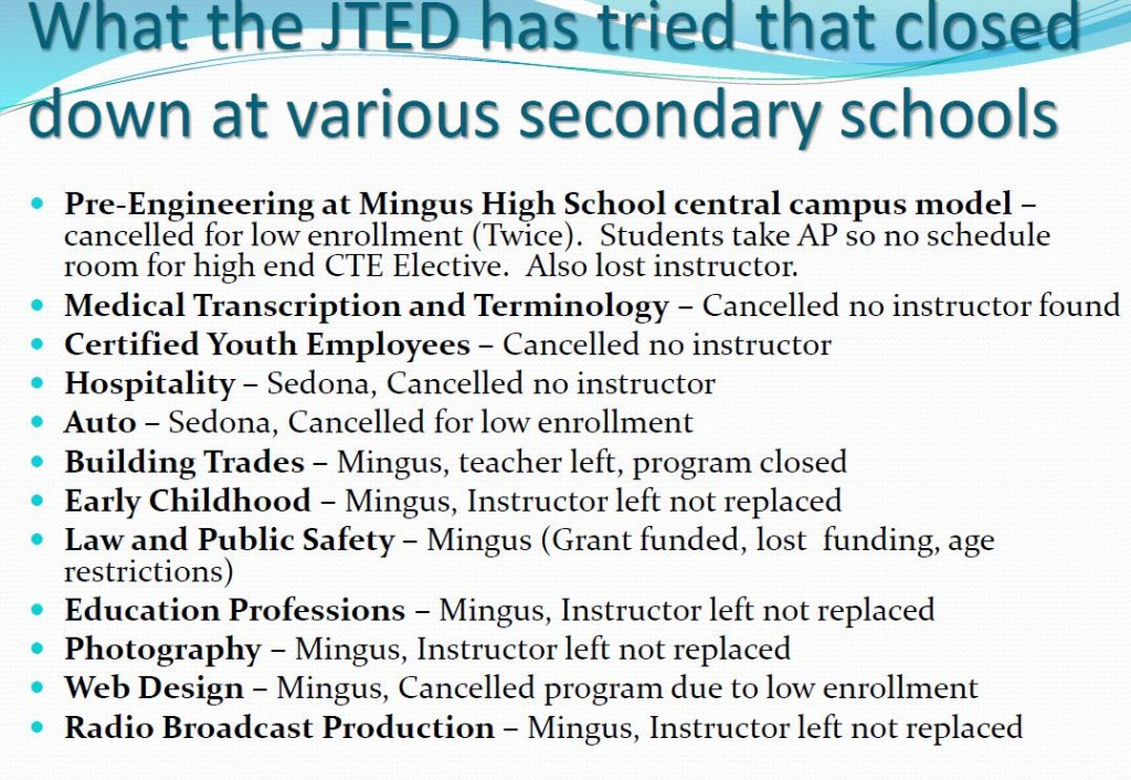JTED SLIDE SHOWING WHY CLASSES CLOSED