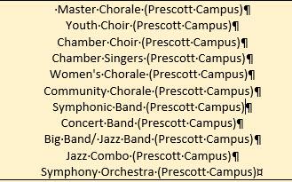 Music programs on Prescott campus