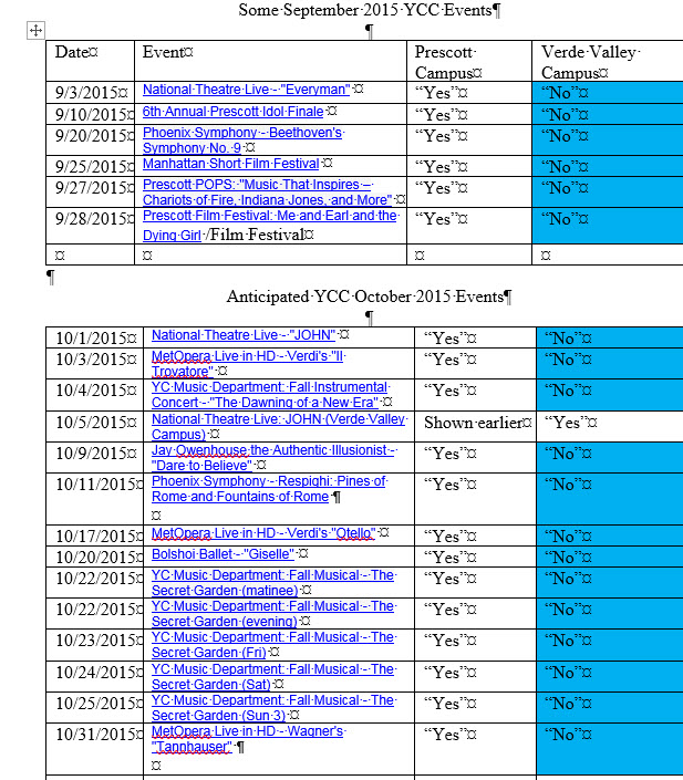 September October PAC Events schedule